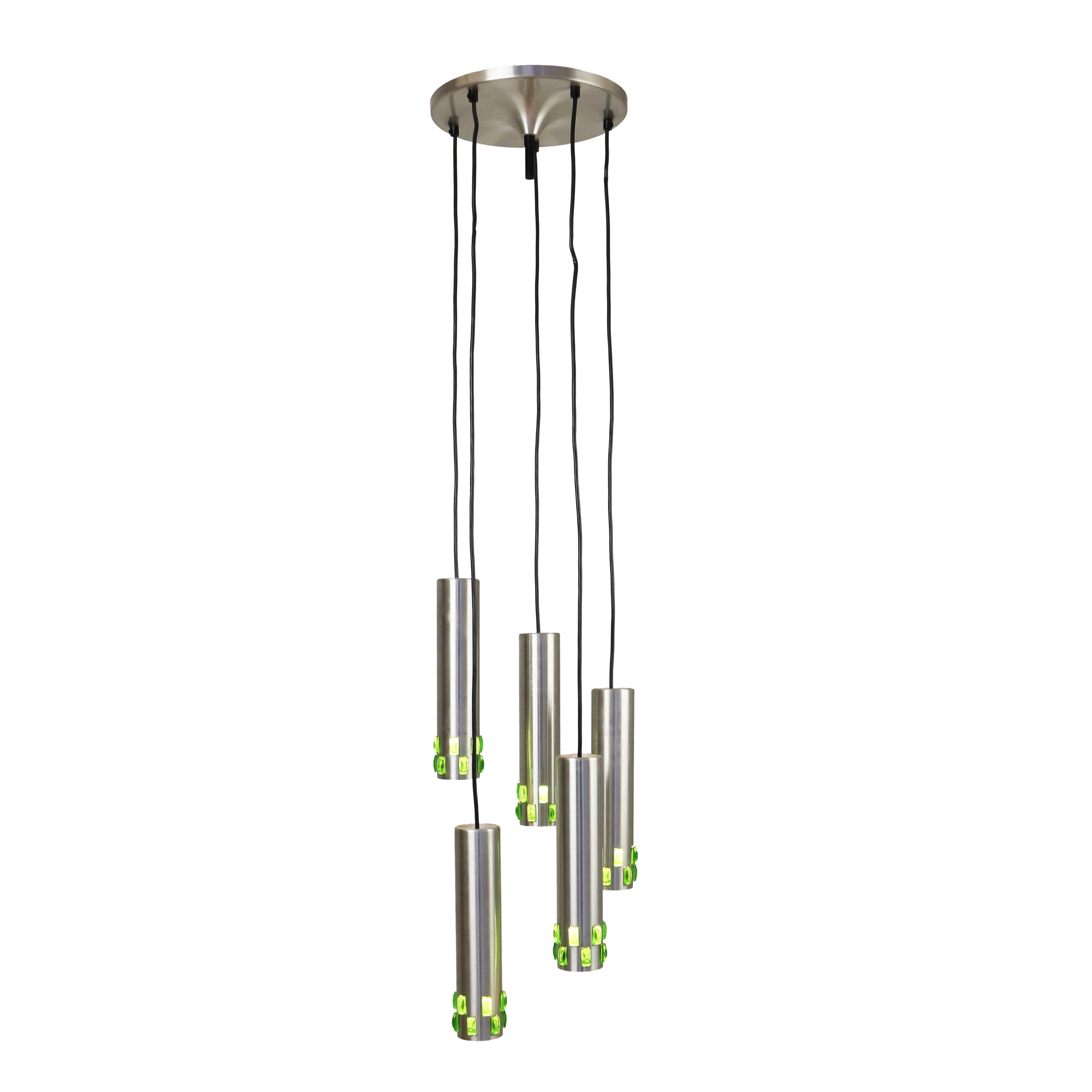 Spiral cascading chandelier with green glass details 1960s