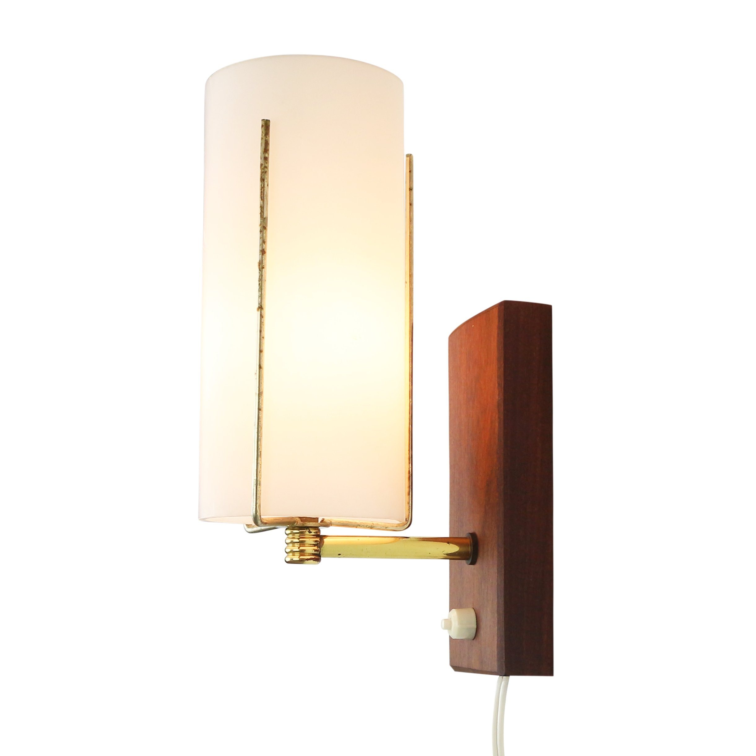 Subtle wall light made of frosted glass wood and brass 1960s 1252 subtle wall light made of frosted glass wood and brass 1960s mozeypictures Images