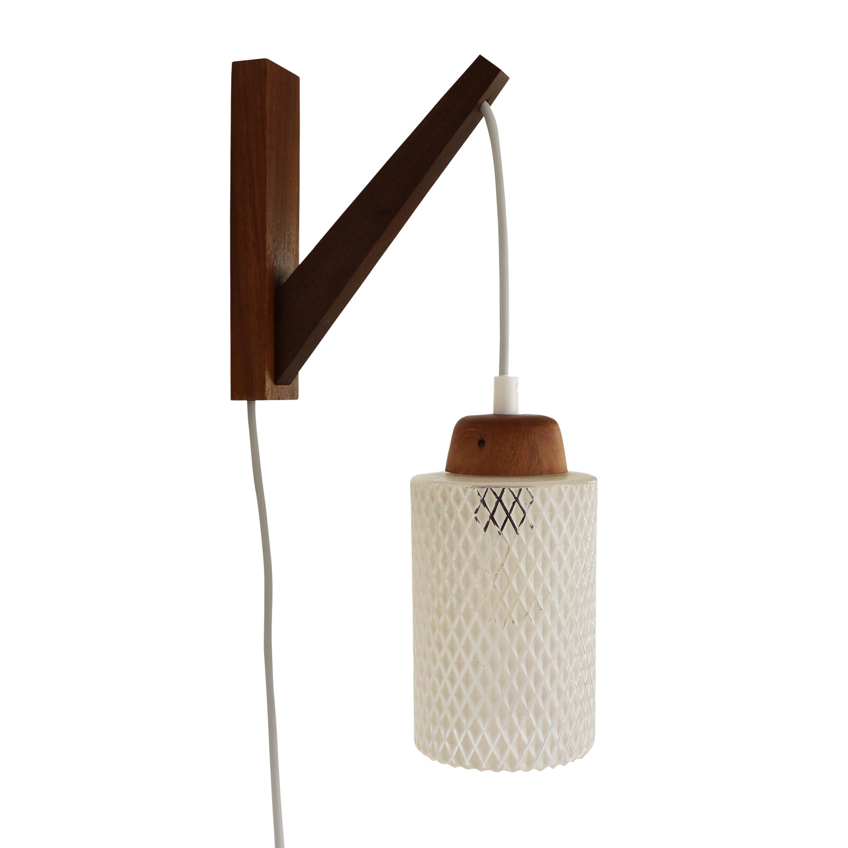 Wall Lights Made From Wood : Hanging wall light made of wood and glass, 1960s #1336