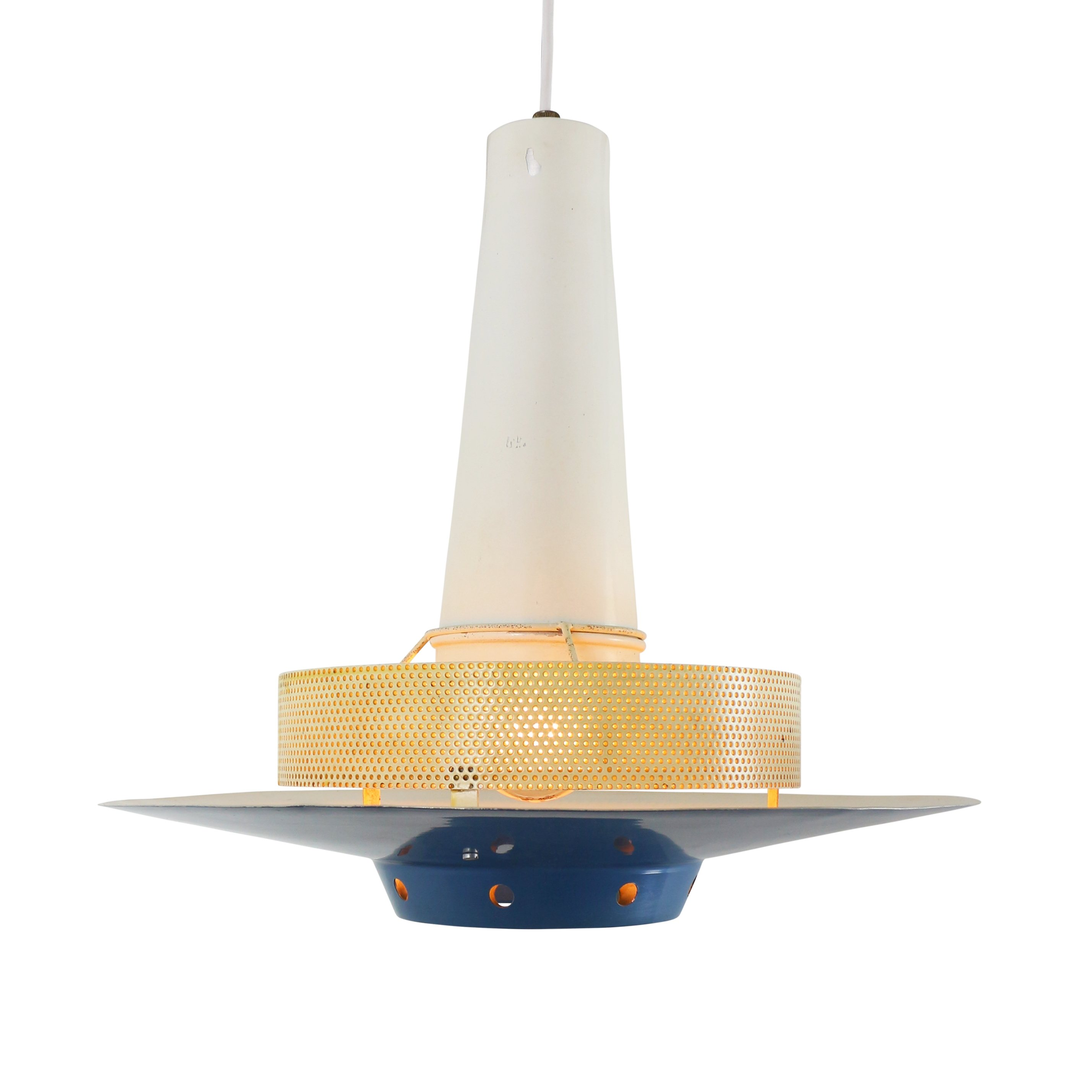 Blue Pendant Light By Louis Kalff For Philips 1950s 1370