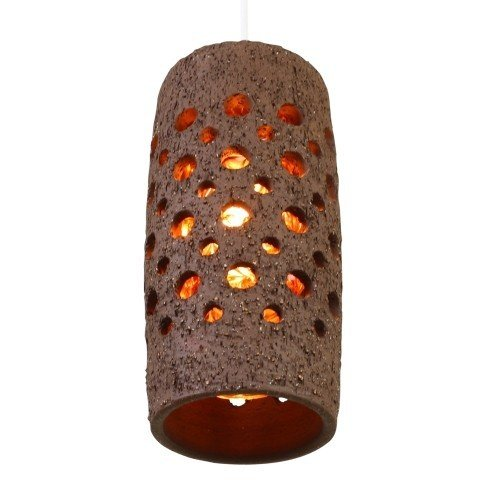 Perforated Ceramic cone shaped hanging lamp with inner Tube made of Glass, 1960s