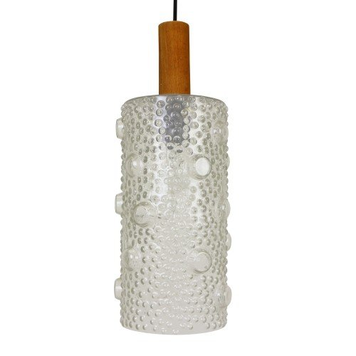 Large cylindrical bubbled glass pendant hanging lamp, 1960s