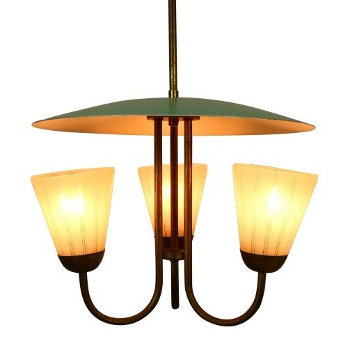 Italian triple sconce ceiling light, 1950s