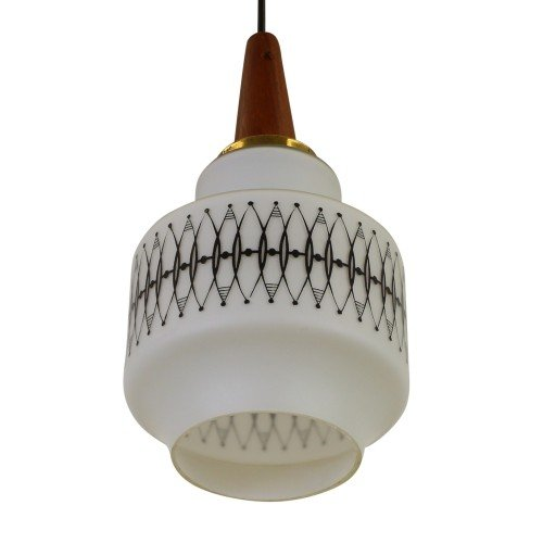 Scandinavian hanging lamp made of milk glass and wood