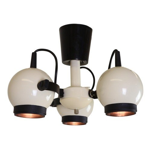 White ceiling light with 3 adjustable ball lights, 1970s