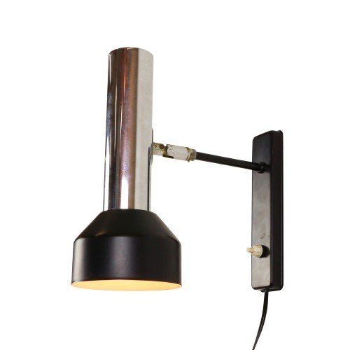 Modern black and chrome wall light from the seventies