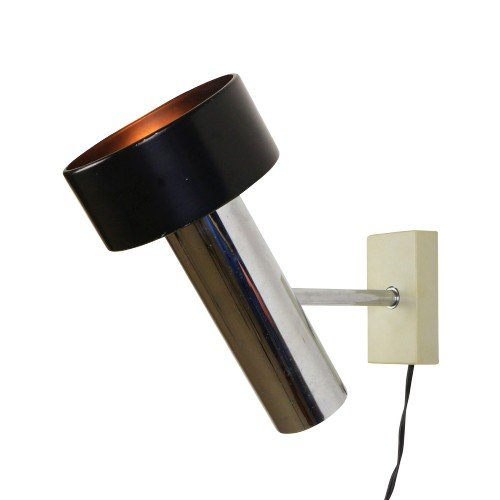 Modern Black and Chrome design wall lamp from the seventies
