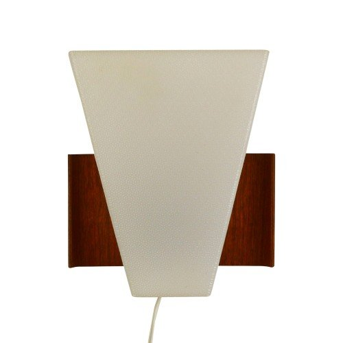 Scandinavian wall light made of wood and plastic, 1960s
