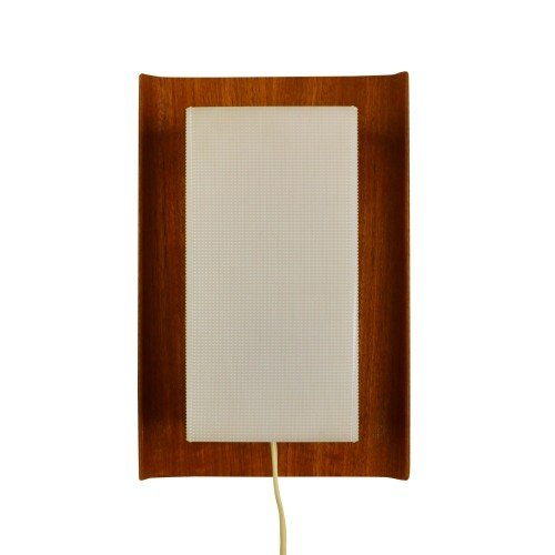 Scandinavian wall light from the sixties made of wood and plastic