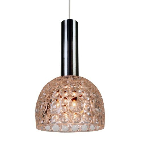 Heavy bubble patterned glass pendant light, 1960s