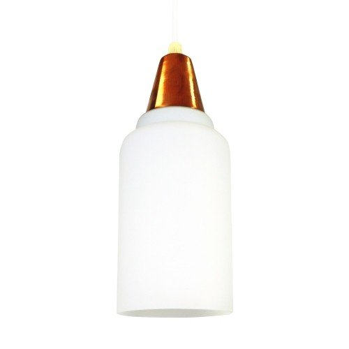 Copper and milk glass hanging light, 1960s