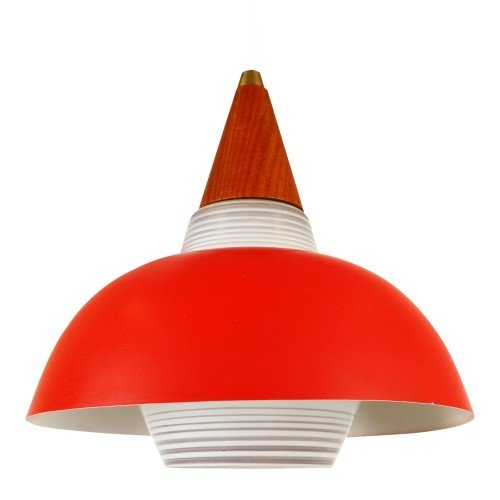 Glass pendant with a red shade and wooden cap, 1950s
