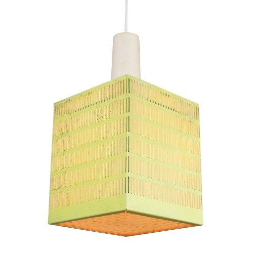 Pendant with a perforated pastel yellow shade, 1950s