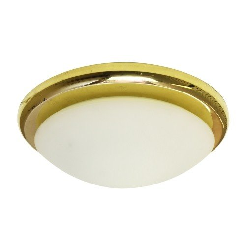 Circular opaque glass and brass ceiling light, 1970s