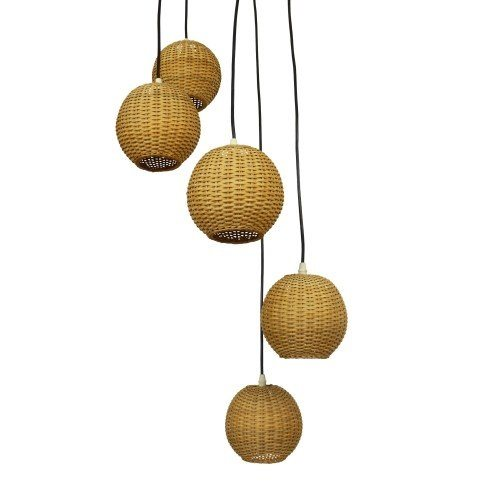 Large spiral pendant light with five small rattan globes, 1970s