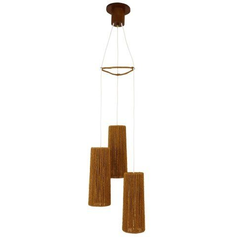 Tri-cone Scandinavian pendant light from the fifties with cylindrical rope shades