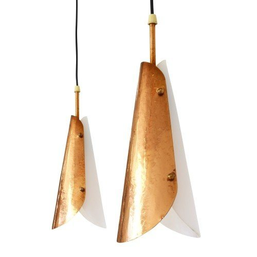 Set of two sophisticated pendant lights from the fifties made of acrylic and hammered copper