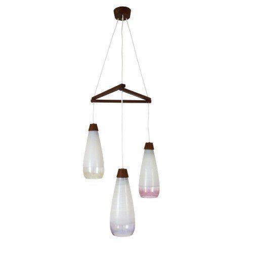 Multicolor glass tri-cone pendant light from the sixties with wooden details