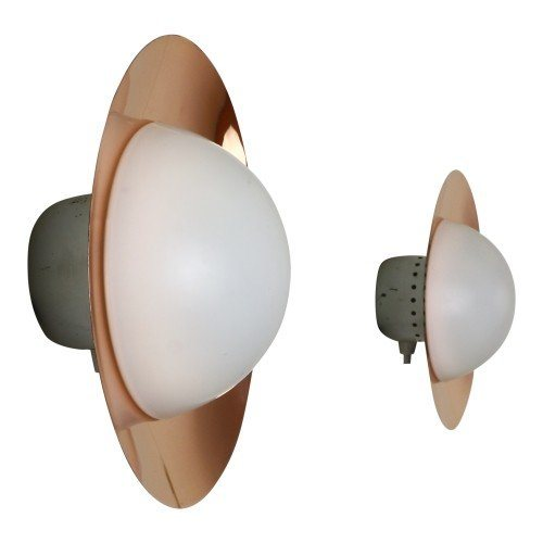 Pair of sophisticated copper and milk glass wall lights from the fifties