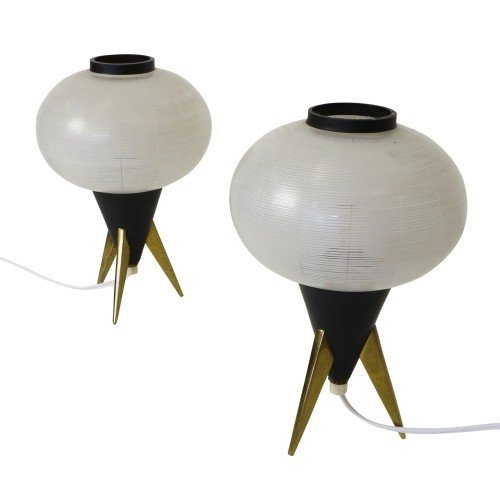 Pair of Atomic tripod table lights from the fifties