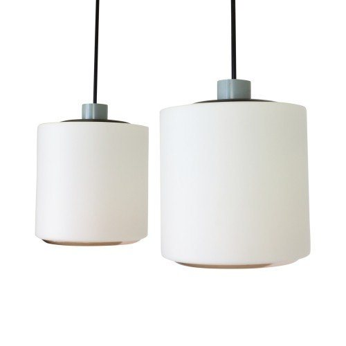 Pair of XL milk glass ceiling pendants from the sixties