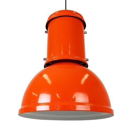Large orange industrial Enameled Metal pendant light, 1950s