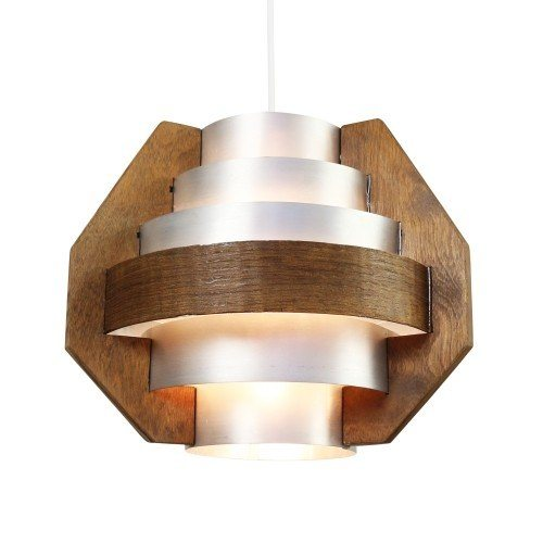 Multilayer pendant from the sixties made of aluminium and wood