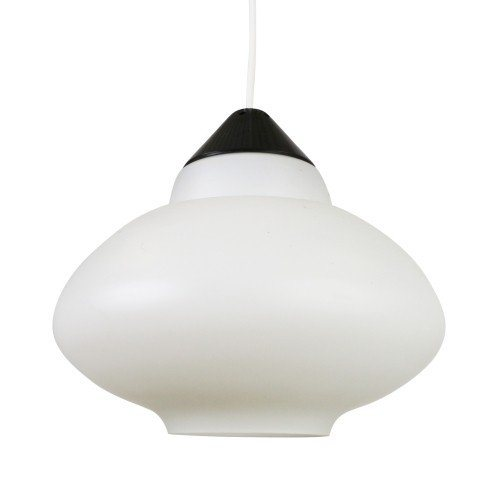 Black and white milk glass pendant by Philips Holland, 1960s