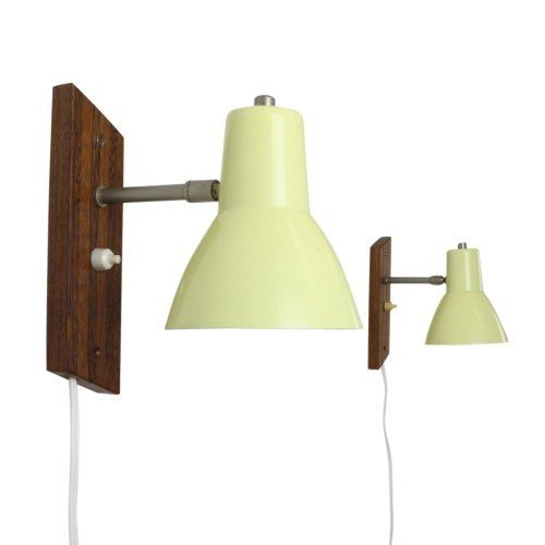 Set of two pastel yellow wall lights, 1950s