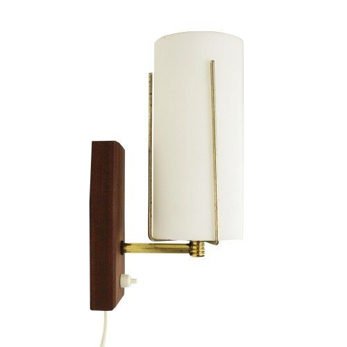 Subtle wall light made of frosted glass, wood and brass, 1960s