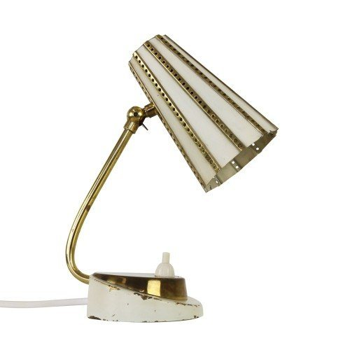 Small off-white desk light with brass details, 1950s