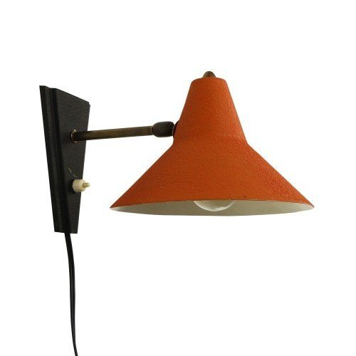 Orange red and black wall light, 1950s