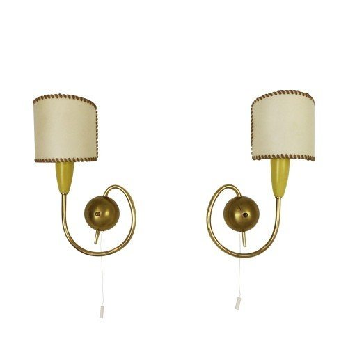 Pair of messing French wall lights, 1950s