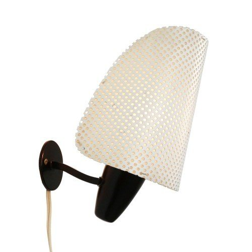 Rare Swiss BAG Turgi wall light with perforated shade, 1950s