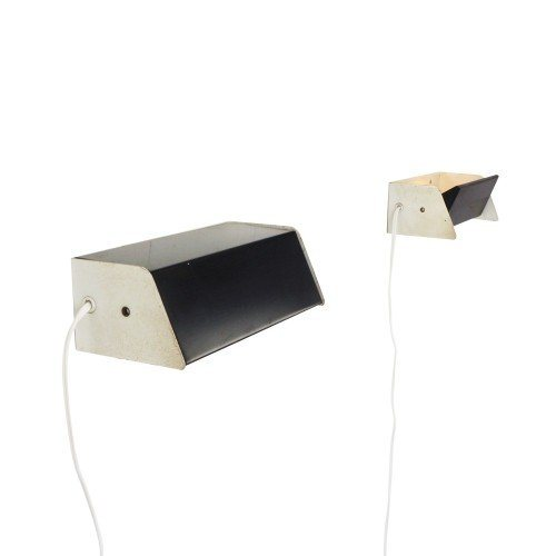 Pair of black and white wall lights, 1960s