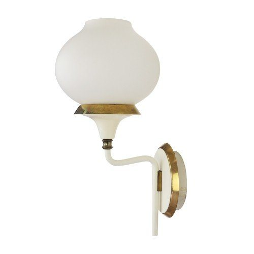 Italian milk glass and brass wall light, 1950s