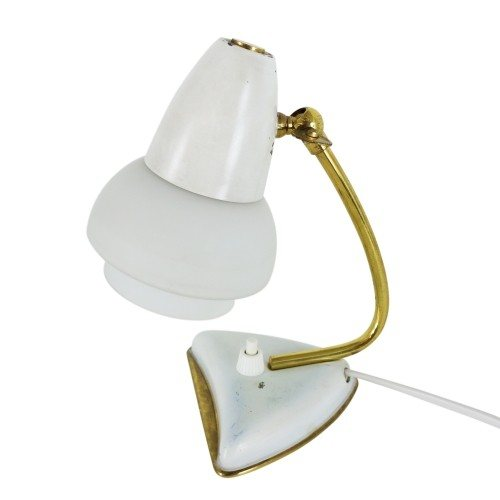 Small white bedside light with glass shade and brass details, 1950s