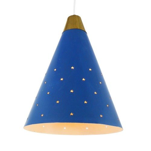 Blue pendant with star shaped perforations, 1950s