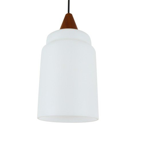 Vintage milk glass and wood pendant light, 1960s