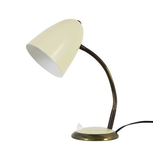 Cream desk light with brass details, 1960s