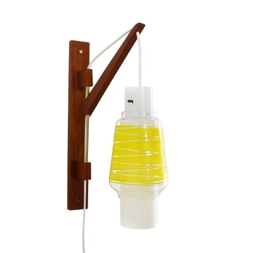 Suspending yellow and frosted glass wall light, 1950s
