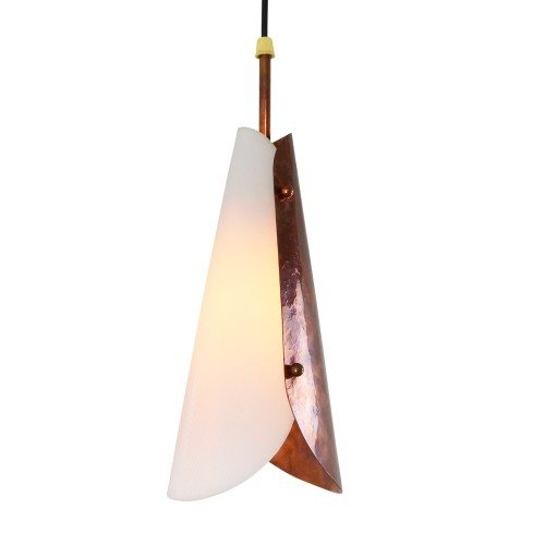 Sophisticated pendant light made of acrylic and hammered copper, 1950s
