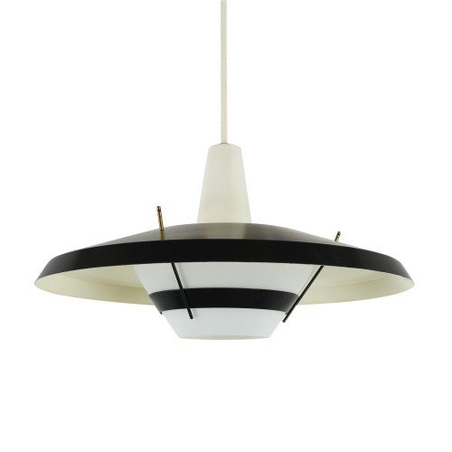 Black and white 'NT25 E/00' pendant light by Louis Kalff for Philips
