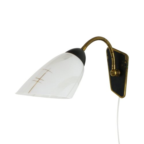 Typical fifties wall light with brass and milk glass
