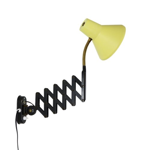Light yellow and black Scissor wall light by Hala Zeist, 1960s