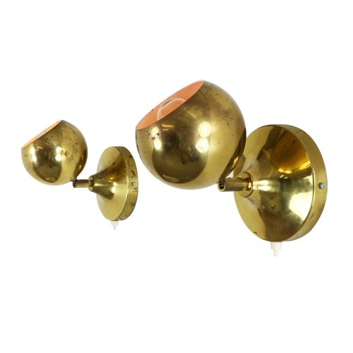 Pair of adjustable brass globe wall lights, 1970s
