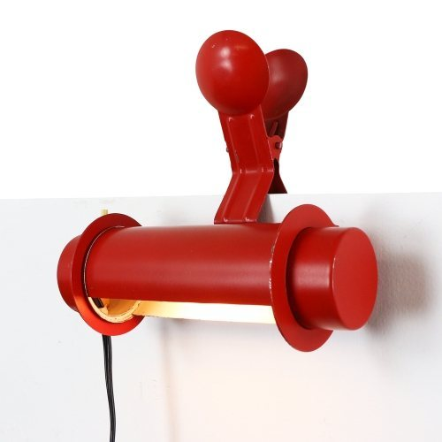 Rare Rotatable clamp wall light in deep red, 1960s