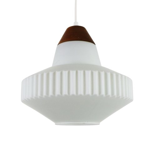 Vintage milk glass pendant with wooden top, 1960s
