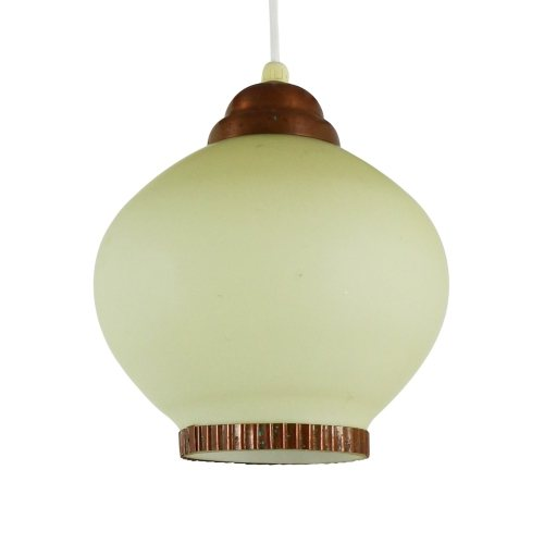 Glass and copper pendant lamp, 1940s