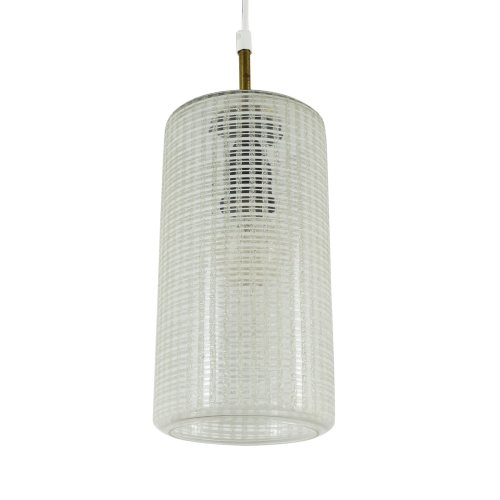 Cylindrical glass pendant light with brass details, 1960s